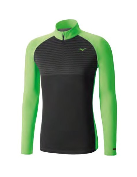 CAMISETA M/L RUNNING MIZUNO BREATH THERMO BODY MAPPING NEGRO/VERDE