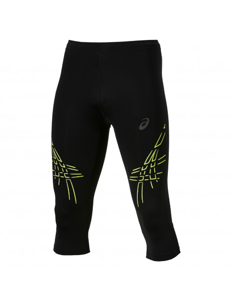 MALLA RUNNING ASICS PIRATA STRIPE KNEE TIGHT NEGRO DETALLES AMARILLO
