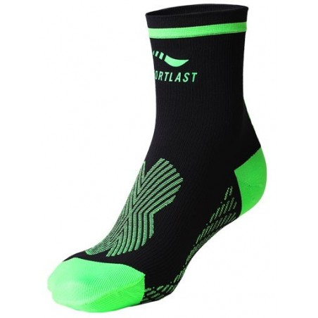 CALCETINES CORTOS RUNNING SPORTLAST COMPRESION TRAIL NEGRO-VERDE