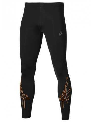 MALLA RUNNING ASICS LARGA STRIPE TIGHT NEGRO DETALLES NARANJA